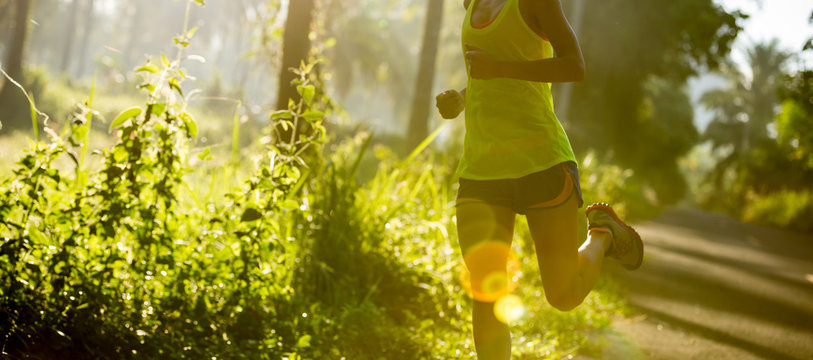 Young fitness woman running at morning tropical forest trail