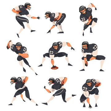Collection of American Football Players, Male Athlete Characters in Black Sports Uniform and Protective Helmet in Action Vector Illustration