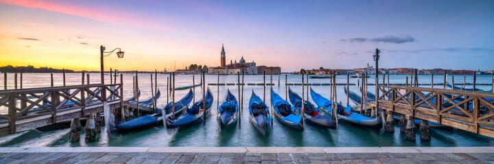 Panoramic view of San Giorgio Maggiore Island with gondola in the foreground, Venice, Italy