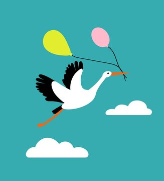 Stork flying in the sky and holding air balloons. Cute bird character for nursery, babyshower, poster or greeting card. Flat cartoon style.