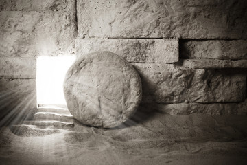 Tomb of Jesus. Jesus Christ Resurrection. Christian easter concept Fotomurales