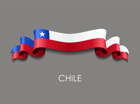 Chilean flag wavy ribbon background. Vector illustration.