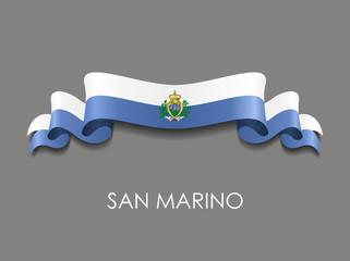 San Marino flag wavy ribbon background. Vector illustration. Wall mural