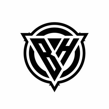 BH logo with triangle shape and circle with outline rounded design template