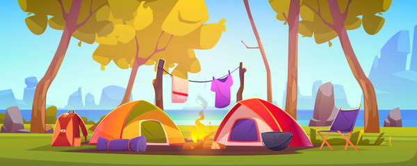 Fototapeten Pool Summer camp with tent, campfire, trees, lake and mountains on background. Vector cartoon landscape of natural parkland, countryside. Picnic on river beach