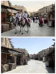 A combination picture shows people activity at Souq Waqif in Doha
