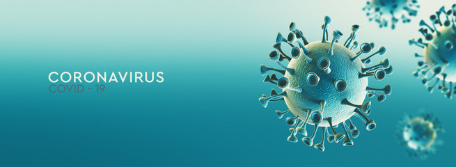 High resolution banner Coronavirus microscopic view. Dangerous asian ncov corona virus, SARS concept with text on teal background. 3d rendering