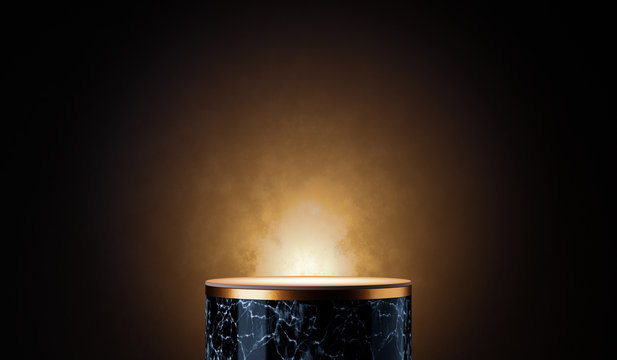3d render of white marble pedestal on black background, round gold frame, memorial board, abstract minimal concept, blank space, clean design, luxury mockup