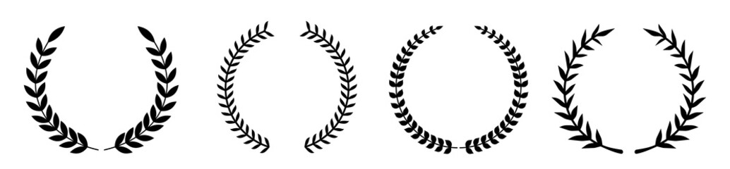 Set of various laurel wreaths. Award, achievement, victory, Gerd. Vector illustration on a white background.