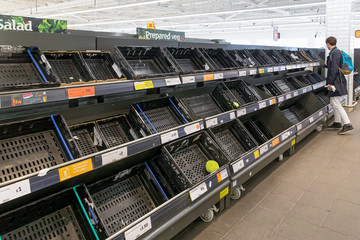 Empty supermarket shelves due to Covid19 (Coronavirus) induced panic buying