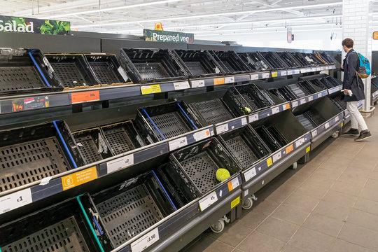 Empty supermarket shelves due to Covid19 (Coronavirus) induced panic buying
