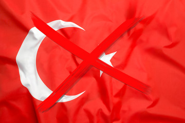 Crossed out flag of Turkey, curfew concept
