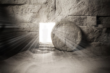 Tomb of Jesus. Jesus Christ Resurrection. Christian easter concept Fototapete