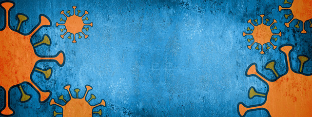 CORONAVIRUS - Orange cartoon virus isolated on blue abstract rustic texture background banner panorama, top view with space for text ( complementary colors )