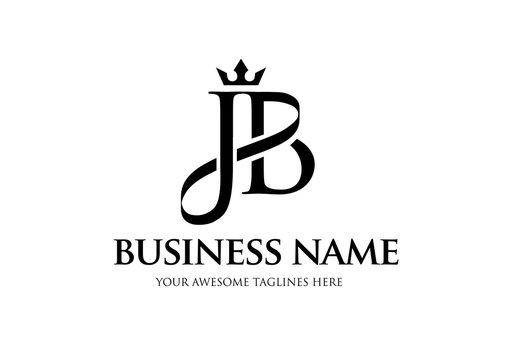 elegant initial letter jb with crown logo vector, Creative Lettering Logo Vector Illustration.