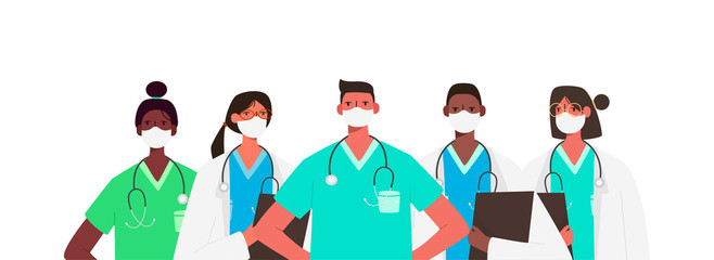 Coronavirus 2019-nCoV. Set of doctors characters in white medical face mask. Stop Coronavirus concept. Medical team doctor nurse therapist surgeon professional hospital workers, group of medics. Wall mural