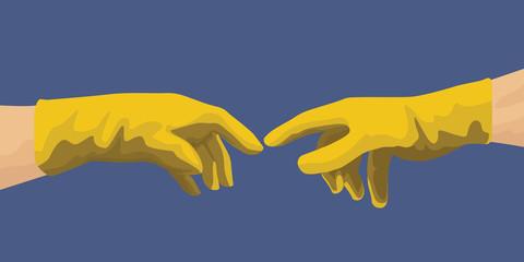 Concept de l'hygiène avec les mains de Michel Ange qui pointent leurs doigts en ayant enfilées des gants de latex pour se protéger de la propagation d'un virus.