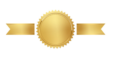 Golden stamp with horizontal ribbons isolated on white background. Luxury seal. Vector design element.