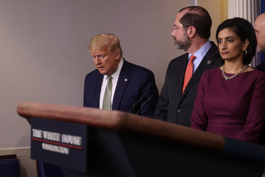 President Trump addresses the Trump administration?s daily coronavirus (COVID-19) briefing  at the White House in Washington