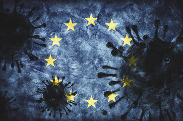 Coronavirus against European Union grunge flag. Virus causing epidemic Fotomurales