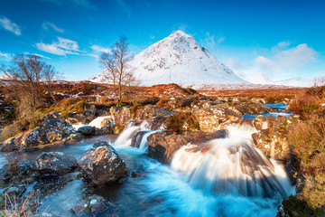 Wall Mural - Waterfalls at the foot of the Buachaille Etive Mor