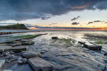 Fototapete - Dusk over the rocky shore at Kimmeridge
