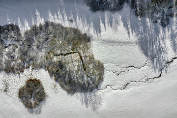 Aerial view at a group of trees and a crossing little river in a winter top view.
