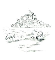 Obraz Sketch of Mont Saint Michel, - fototapety do salonu