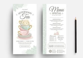 Afternoon Tea Menu Flyer Layout