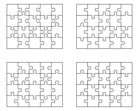 Illustration of four white puzzles, separate pieces