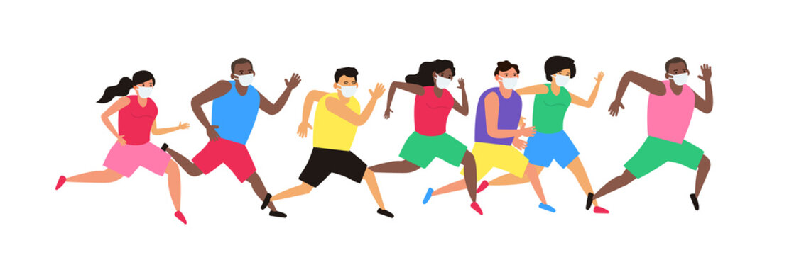group of running people in protective masks coronavirus covid 19 threat sport competition vector illustration