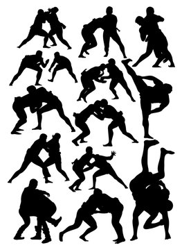 set of silhouettes of sumo wrestling  vector