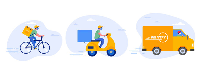 Poster Wall Decor With Your Own Photos Online delivery service concept, online order tracking, delivery home and office. Warehouse, truck, drone, scooter and bicycle courier, delivery man in respiratory mask. Vector illustration