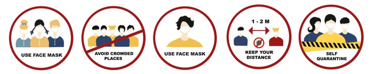 Quarantine Coronavirus  sign set. Covid-19, 2019-nCoV Novel Coronavirus, use face mask, avoid crowded places, keep distance, self  quarantine. Coronavirus Pandemic sign vector set.