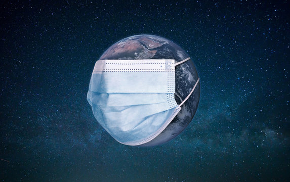 Planet earth wearing a protection medical mask. Epidemic concept. Danger of infection. Doctor mask and corona virus protection, COVID-19