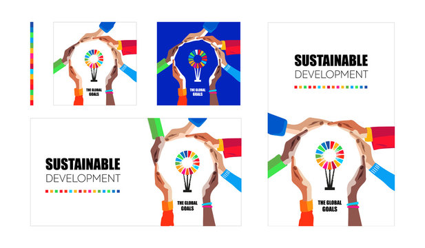 Sustainable development goals. Hands make light symbol and colorful logo inside. Multicultural people community of responible protection of earth and environment. Social vector illustration