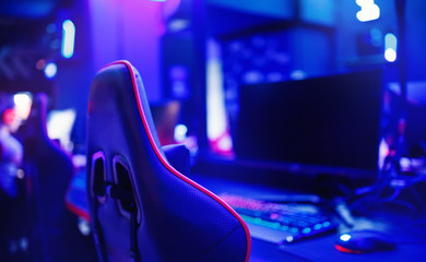 Professional place streamer video gamers room with computer. Cyber sport championship neon color lights