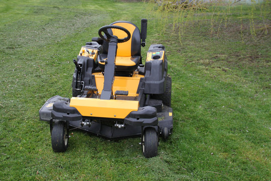 Lac de madine, France - march 15th 2020 : Cub cadet yellow tractor mower