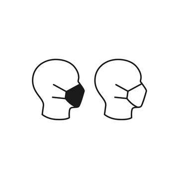 Medical mask on human head profile black isolated vector icon.