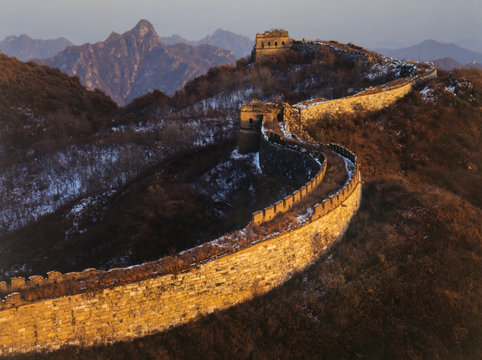 China, Huairou County, Great Wall at mutianyu in winter