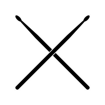 Drum Sticks Crossed Vector Black Silhouette Isolated on White