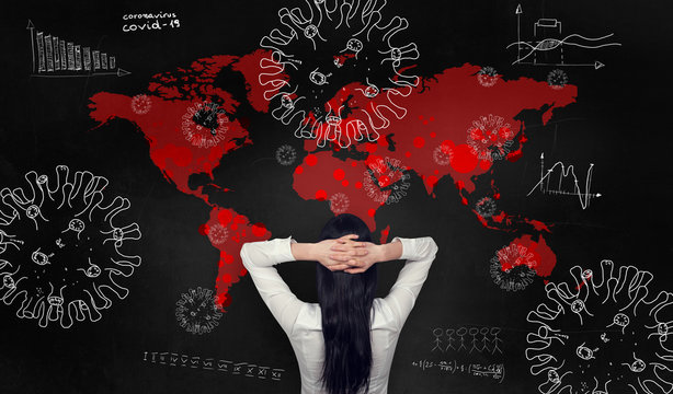 Female analyst worried about the difficult economic situation and is holding her hands behind her head. Sketches and analysis of the infected world. Coronovirus pandemic.
