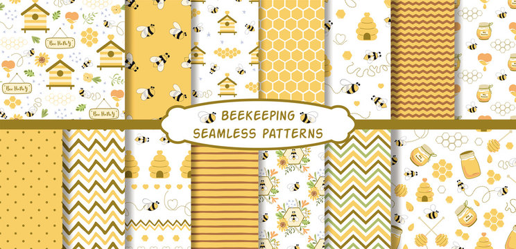 Apiary beekeeping seamless patterns set Organic honey making background collection Vector bee wallpaper