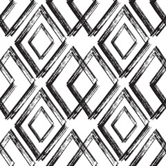 Rhombus Paint Brush Strokes Seamless pattern. Vector Abstract Grunge background