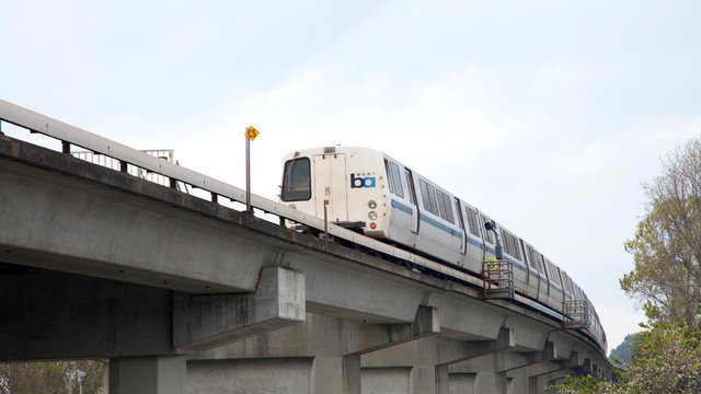 San Leandro, CA - February 01, 2017: Southbound BART train approaching Bay Fair station. Bay Area Rapid Transit is a public transportation elevated and subway system serving the San Francisco Bay Area