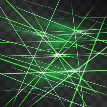 Laser alarm green signaling room glow vector. Glowing light streams blinking on transparent background. Light energy rays illustration for modern hi tech design. Dance club neon strobing glimmer lines