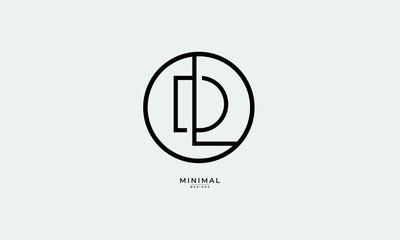 Fototapeta Alphabet letter icon logo DL or LD obraz