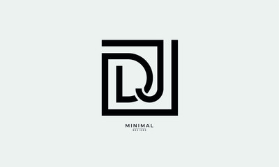 Alphabet letter icon logo DJ