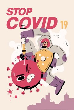 Fight with Coronavirus concept. Illustration of a doctor fighting with covid-19 corona virus. Disease campaign poster. Vector