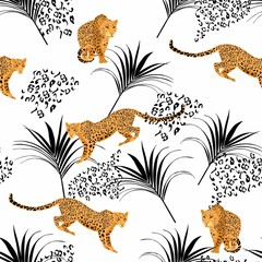 Seamless pattern with leopards and tropical black leaves. Trendy style. Vintage background.